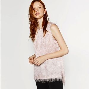 ZARA Fringe Blush Top L